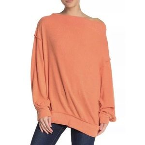 Free People Fleece Sweater Tunic Top Orange NEW